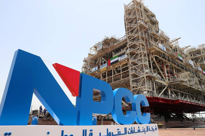 ABU DHABI,  UNITED ARAB EMIRATES , JUNE 26 -2019 :- View of the world's largest fixed oilfield platforms at the NPCC Campus in Musaffah in Abu Dhabi. ( Pawan Singh / The National ) For Business. Story by Jennifer