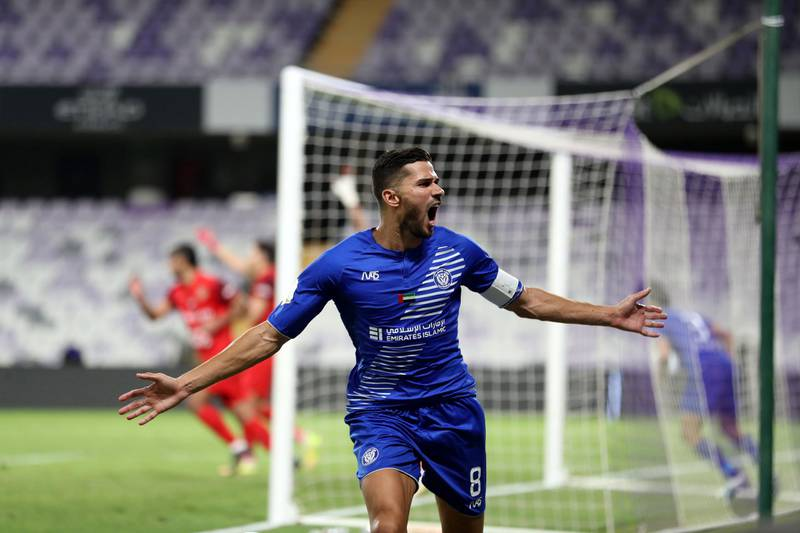 Al Nasr's Mehdi Abeid scores in the game between Shabab Al Ahli and Al Nasr in the PresidentÕs Cup final in Al Ain on May 16th, 2021. Chris Whiteoak / The National.  Reporter: John McAuley for Sport