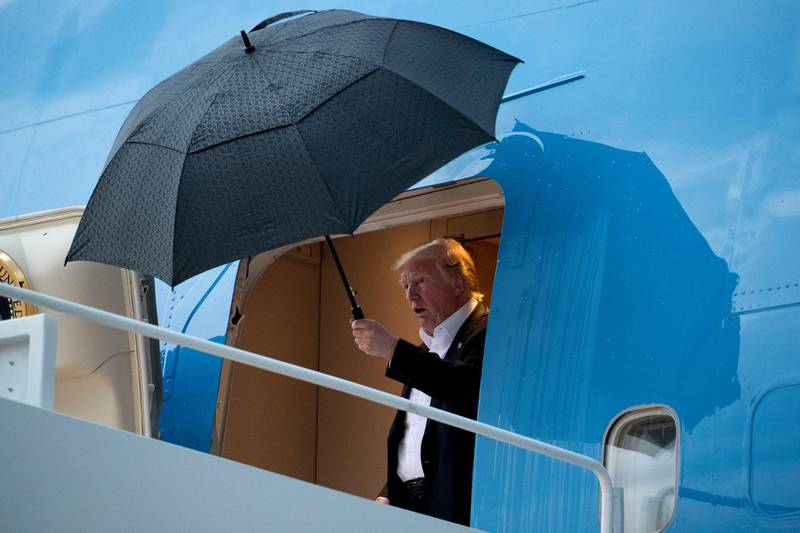 President Donald Trump arrives at Andrews Air Force Base, Md., Thursday, May 30, 2019, for a short trip to the White House after attending the 2019 United States Air Force Academy Graduation Ceremony in Colorado Springs, Colo. (AP Photo/Andrew Harnik)