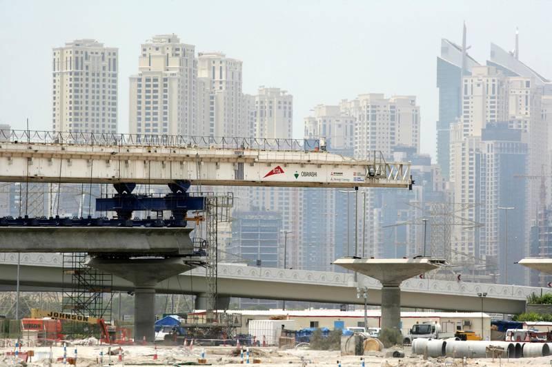 AB39WN ARE, United Arab Emirates, Dubai: Construction site of Dubai Metro masstransport system will be finished until September 2009
