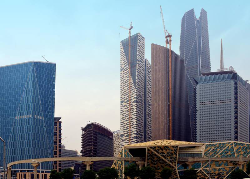 Riyadh, Saudi Arabia: King Abdullah Financial District (KAFD) - left to right, 3.04 office tower, KAFD World Trade Center, GCC Bank Headquarters, Public Investment Fund (PIF) Tower (the tallest building), Samba Bank tower. KAFD Conference Center can be seen on the lower right, crossed by the viaduct of the monorail - Al Aqeeq - ad-Diriyah. Getty Images