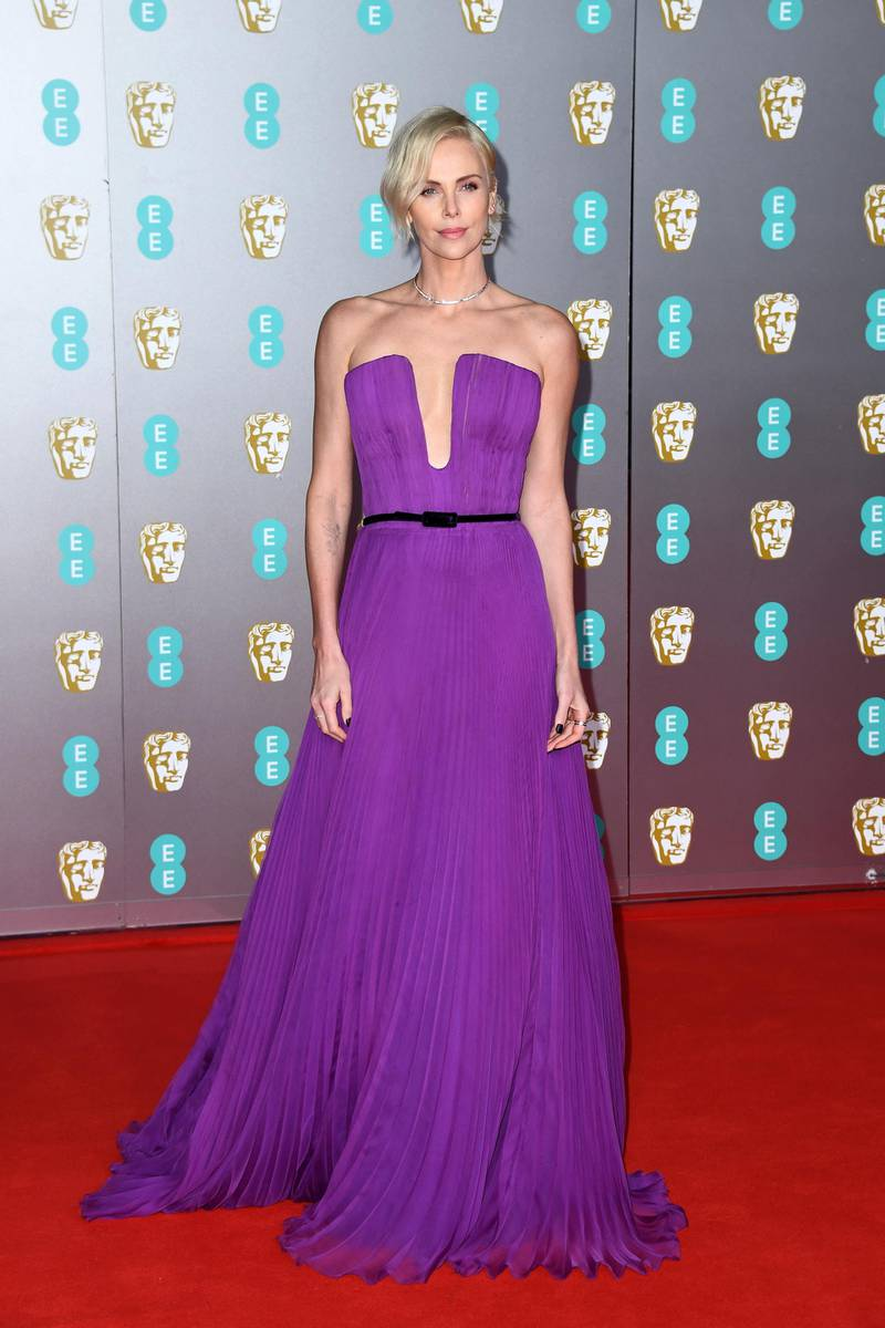 LONDON, ENGLAND - FEBRUARY 02: Charlize Theron attends the EE British Academy Film Awards 2020 at Royal Albert Hall on February 02, 2020 in London, England. (Photo by Gareth Cattermole/Getty Images)