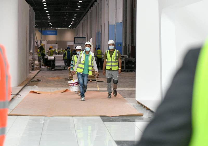 Abu Dhabi, United Arab Emirates - Preparation ongoing for the first International Defence Exhibition and Conference post pandemic taking place at Abu Dhabi National Exhibition Centre next week. Khushnum Bhandari for The National
