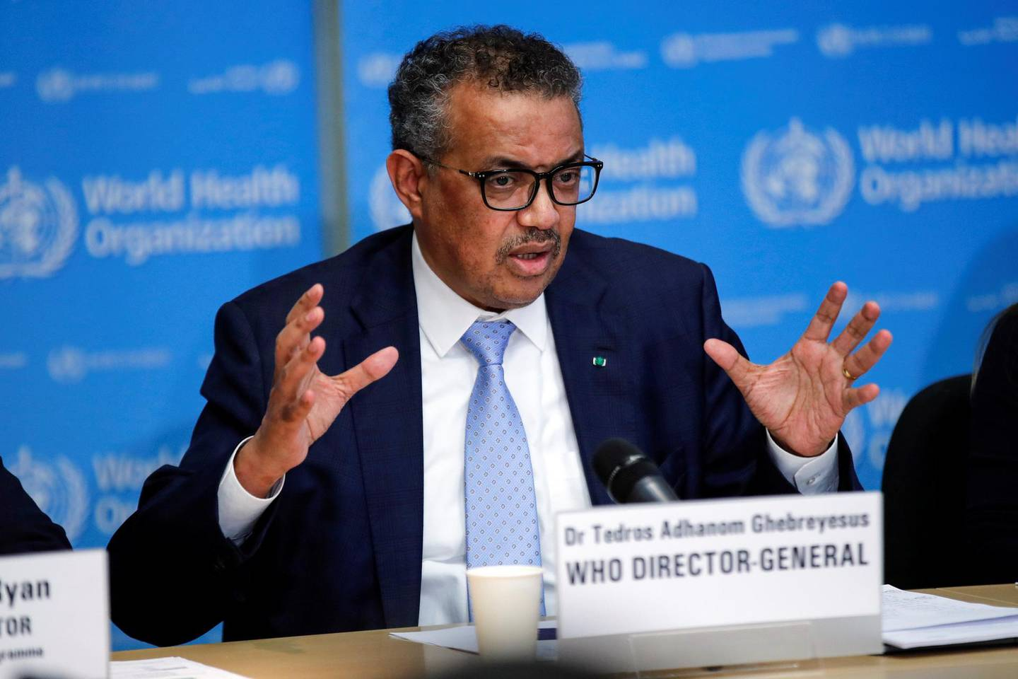 Tedros Adhanom Ghebreyesus, director general of the World Health Organization (WHO), gestures as he speaks during a news conference on the COVID-19 coronavirus outbreak in Geneva, Switzerland, on Monday, March 2, 2020. More than $1.1 trillion was wiped off the value of developing-nation stocks and bonds last week as the economic impact of the coronavirus worsened. Photographer: Stefan Wermuth/Bloomberg via Getty Images