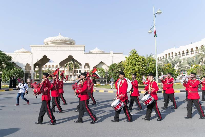 FUJAIRAH, UNITED ARAB EMIRATES - NOV 28:  UAE marching band at Fujairah's national parade.  Al Fujairah began it's UAE National Day celebrations with a national parade.  (Photo by Reem Mohammed/The National)  Reporter:  Ruba Haza Section: NA