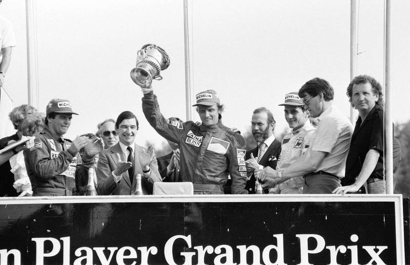 1986 British Grand Prix, Brands Hatch, Sunday 22nd July 1984; our Picture Shows race winner Niki Lauda, with Derek Warwick (2nd) and Ayrton Senna (3rd). (Photo by Bill Rowntree/Mirrorpix via Getty Images)