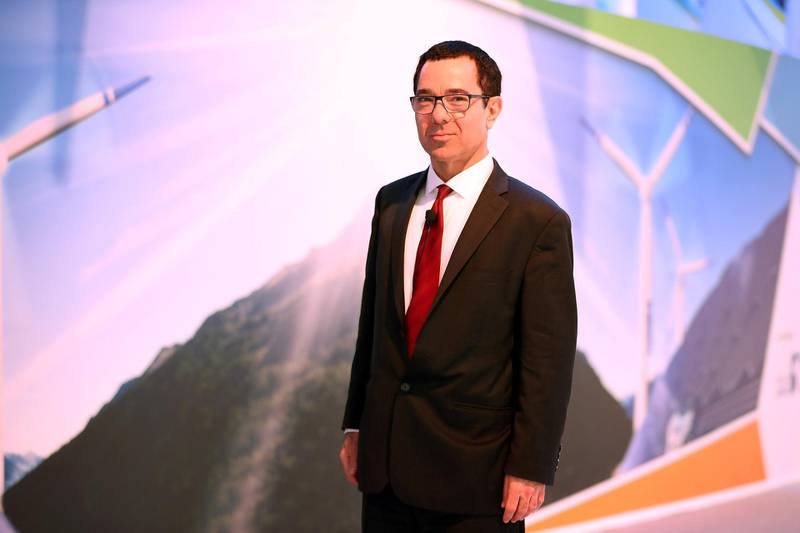 ABU DHABI , UNITED ARAB EMIRATES , JAN 16 – 2018 :- Tony Seba , Author on the second day of the World Future Energy Summit held at ADNEC in Abu Dhabi.  (Pawan Singh / The National) For News. Story by James Langton