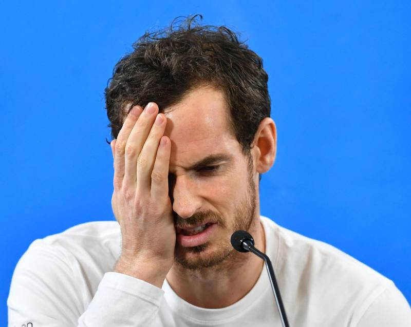 epa06415887 (FILE) - Britain's Andy Murray reacts during a media conference at the Brisbane International Tennis Tournament in Brisbane, Australia, 31 December 2017, (reissued 04 January 2018). According to media reports on 04 January 2018, Andy Murray, 30, will not take part in the upcoming Australian Open 2018 after failing to recover from a persistent hip injury.  EPA/DARREN ENGLAND  AUSTRALIA AND NEW ZEALAND OUT