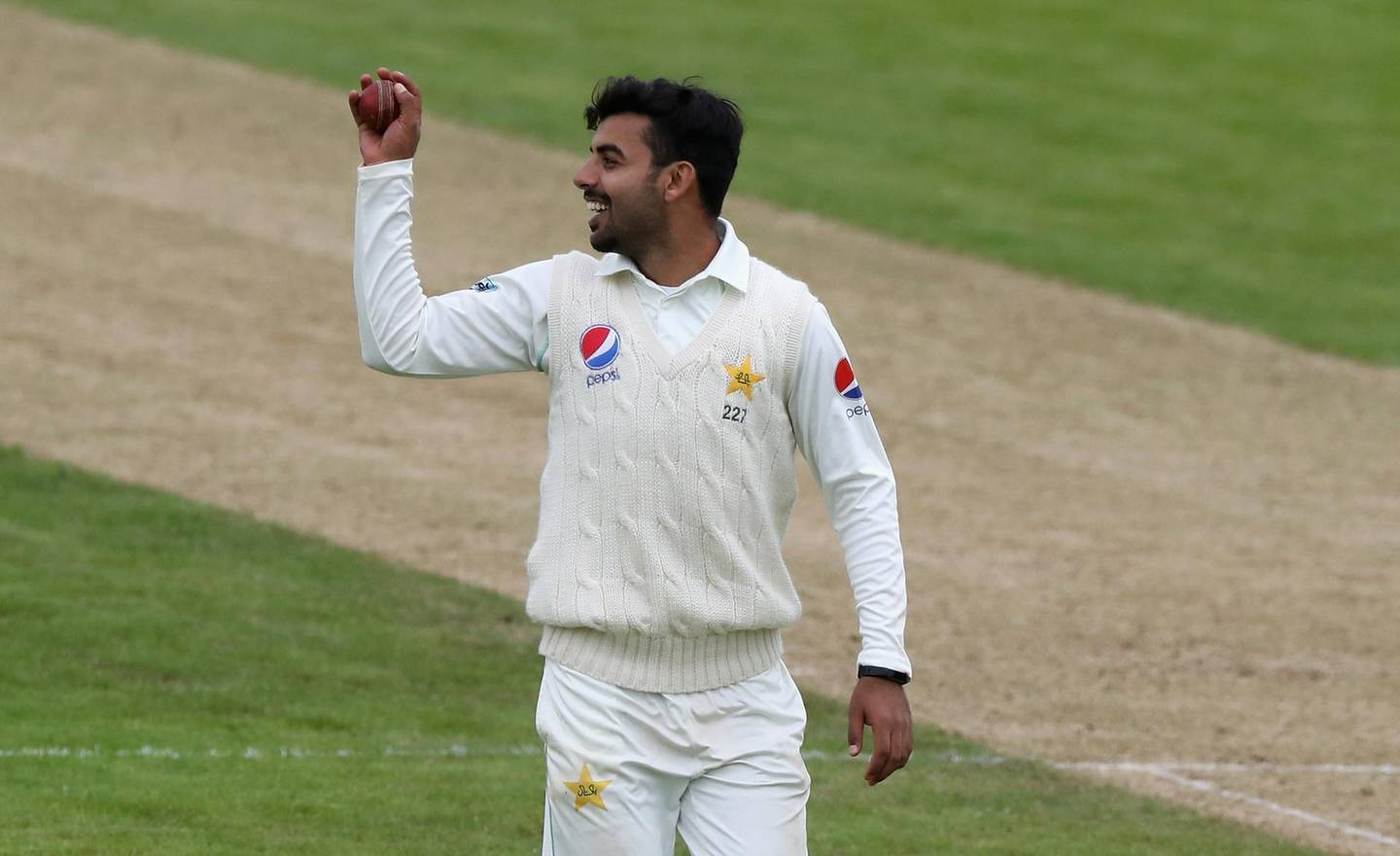 NORTHAMPTON, ENGLAND - MAY 04:  Shadab Khan of Pakistan, catches the ball after taking six wickets during the tour match between Northamptonshire and Pakistan at The County Ground on May 4, 2018 in Northampton, England.  (Photo by David Rogers/Getty Images)