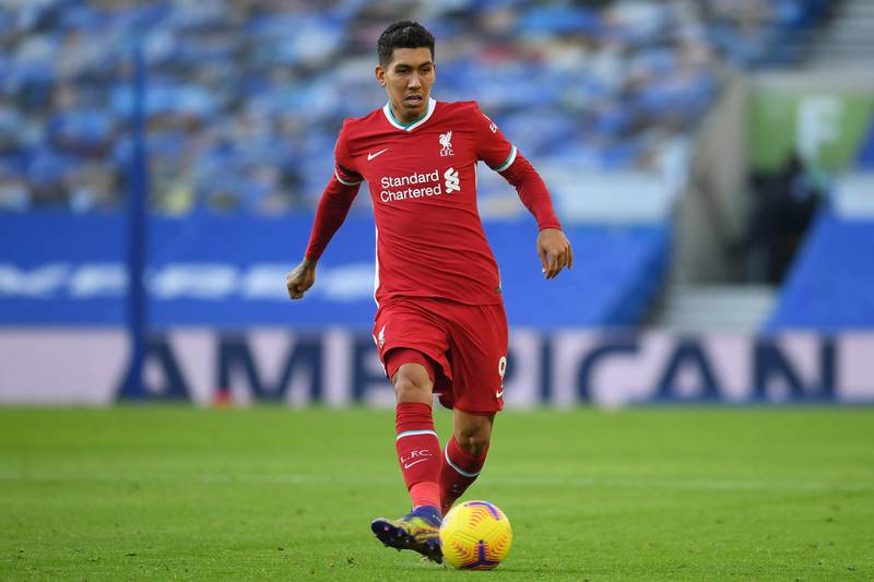 BRIGHTON, ENGLAND - NOVEMBER 28: Roberto Firmino of Liverpool in action during the Premier League match between Brighton & Hove Albion and Liverpool at American Express Community Stadium on November 28, 2020 in Brighton, England. Sporting stadiums around the UK remain under strict restrictions due to the Coronavirus Pandemic as Government social distancing laws prohibit fans inside venues resulting in games being played behind closed doors. (Photo by Mike Hewitt/Getty Images)