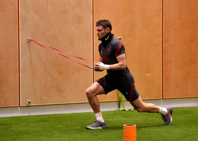 KIRKBY, ENGLAND - NOVEMBER 19: (THE SUN OUT, THE SUN ON SUNDAY OUT) James Milner of Liverpool during a gym training session at AXA Training Centre on November 19, 2020 in Kirkby, England. (Photo by Andrew Powell/Liverpool FC via Getty Images)