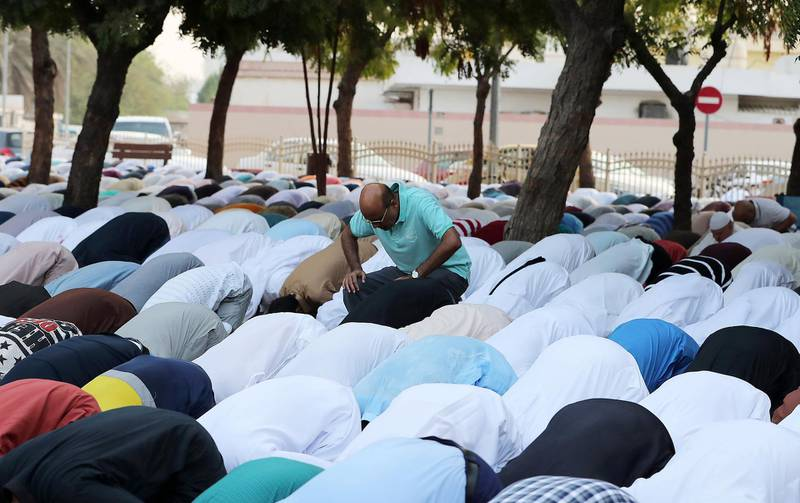 DUBAI, UNITED ARAB EMIRATES, August 21 – 2018 :- People during the Eid Al Adha prayers at the Jumeirah Mosque in Dubai. ( Pawan Singh / The National )  For News. Story by Nawal
