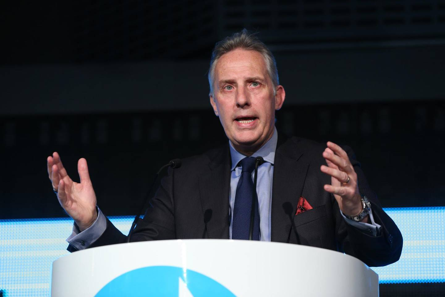 Ian Paisley Jr speaking during a Brexit Party event at the QEII Centre in London. PA Images via Reuters