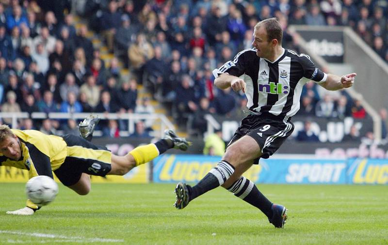 NEWCASTLE - JANUARY 18:  Alan Shearer of Newcastle scores past Carlo Nash of Manchester City during the FA Barclaycard Premiership game between Newcastle United and Manchester City on January 18, 2003 at St James Park, Newcastle.  (Photo by Laurence Griffiths/Getty Images)