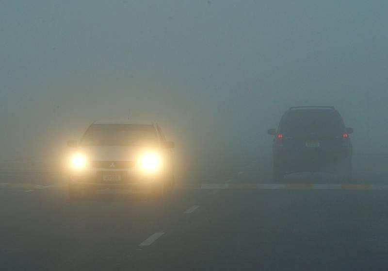 Abu Dhabi, United Arab Emirates, January 19, 2021.   Fog at Khalifa City at 7:52 a.m.  Victor Besa/The National Section:  NA/Weather