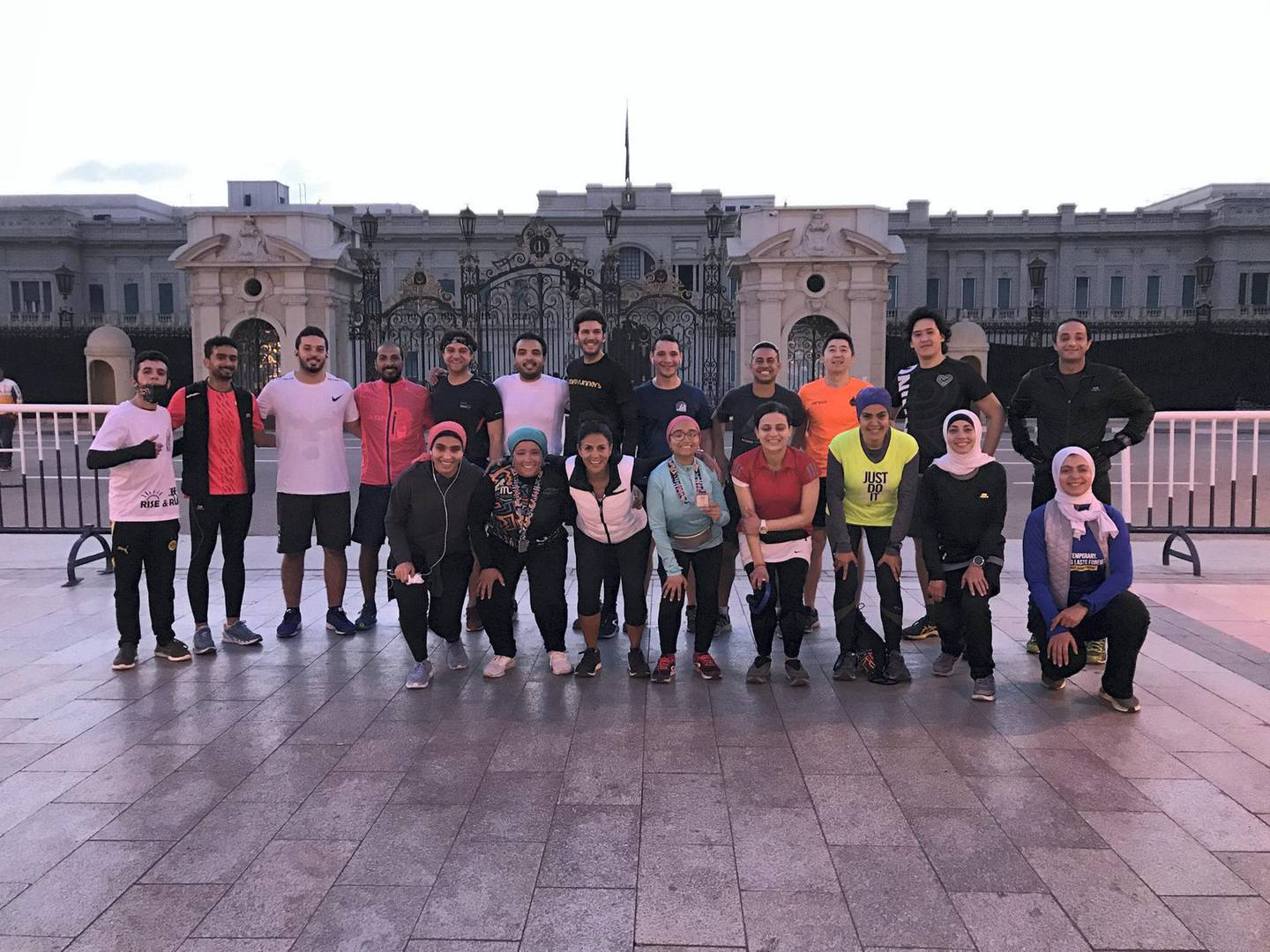 Zamalek Early Risers in front of Abdeen Palace in downtown Cairo on their weekly 5:30am run. Courtesy Abdelhamid Mustafa
