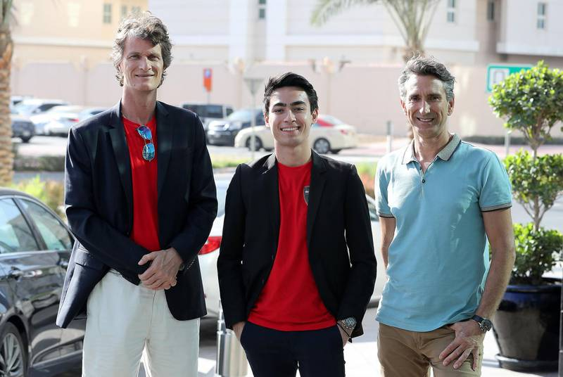 DUBAI , UNITED ARAB EMIRATES , JAN 07 – 2018 :-  Left to Right - Gov Van Ek , Co-founder of BitCar , Daniel Woodroof , Cars Specialist of BitCar and John Bulich , Co-founder & Technology Advisor of BitCar after the interview at the Radisson Blu hotel in Dubai Media City in Dubai. (Pawan Singh / The National) For Business. Story by Alice Haine