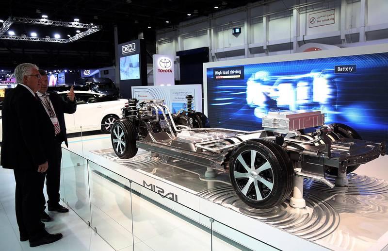 Dubai, 14, Nov, 2017: Toyota's first Hydrogen Fuel car Mirai  displayed at the Dubai International Motor Show in Dubai. Satish Kumar for the National / Story by Adam Workman