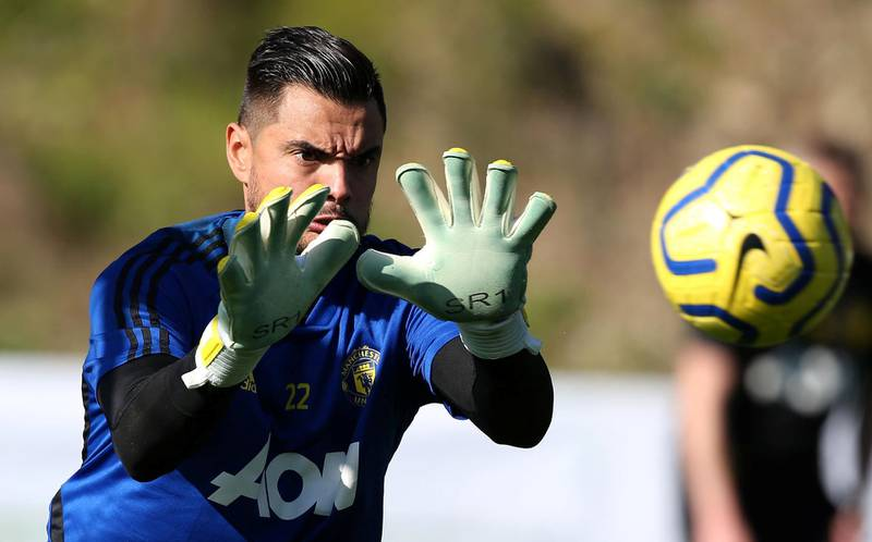 MALAGA, SPAIN - FEBRUARY 10: (EXCLUSIVE COVERAGE) Sergio Romero of Manchester United in action during a first team training session on February 10, 2020 in Malaga, Spain. (Photo by Matthew Peters/Manchester United via Getty Images)