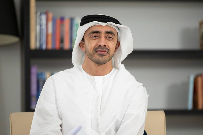 """ABU DHABI, UNITED ARAB EMIRATES - April 19, 2021: HH Sheikh Abdullah bin Zayed Al Nahyan, UAE Minister of Foreign Affairs and International Cooperation, attends in an online lecture titled """"Spirit of a Nation: Community of Many Faiths"""", during the online series of Majlis Mohamed bin Zayed.   ( Hamad Al Kaabi  / Ministry of Presidential Affairs ) ---"""