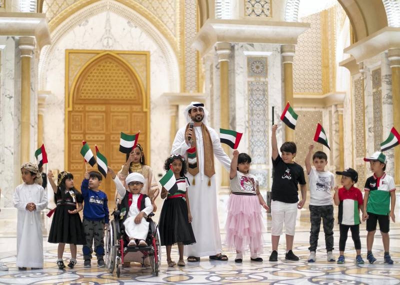 ABU DHABI, UNITED ARAB EMIRATES. 2 DECEMBER 2019. Ali Al Mansoori performs at UAE's National Day celebrations at Qasr Al Watan.(Photo: Reem Mohammed/The National)Reporter:Section: