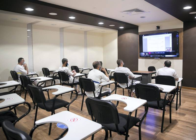 DUBAI, UNITED ARAB EMIRATES. 22 JULY 2020. Distance learning at Al Awir Central Jail.(Photo: Reem Mohammed/The National)Reporter:Section: