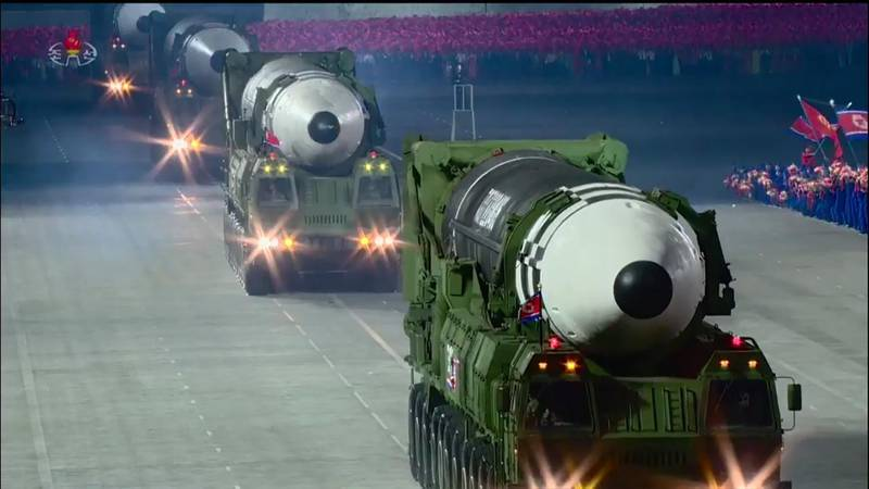 """A screen grab taken from a KCNA broadcast on October 10, 2020 shows North Korean Hwasong-15 intercontinental ballistic missiles during a military parade marking the 75th anniversary of the founding of the Workers' Party of Korea, on Kim Il Sung square in Pyongyang. Nuclear-armed North Korea held a giant military parade, television images showed, with thousands of maskless troops defying the coronavirus threat and Pyongyang expected to put on show its latest and most advanced weapons.  -  - South Korea OUT / REPUBLIC OF KOREA OUT   ---EDITORS NOTE--- RESTRICTED TO EDITORIAL USE - MANDATORY CREDIT """"AFP PHOTO/KCNA"""" - NO MARKETING NO ADVERTISING CAMPAIGNS - DISTRIBUTED AS A SERVICE TO CLIENTS THIS PICTURE WAS MADE AVAILABLE BY A THIRD PARTY. AFP CAN NOT INDEPENDENTLY VERIFY THE AUTHENTICITY, LOCATION, DATE AND CONTENT OF THIS IMAGE.   / AFP / KCNA VIA KNS / - / REPUBLIC OF KOREA OUT   ---EDITORS NOTE--- RESTRICTED TO EDITORIAL USE - MANDATORY CREDIT """"AFP PHOTO/KCNA"""" - NO MARKETING NO ADVERTISING CAMPAIGNS - DISTRIBUTED AS A SERVICE TO CLIENTS THIS PICTURE WAS MADE AVAILABLE BY A THIRD PARTY. AFP CAN NOT INDEPENDENTLY VERIFY THE AUTHENTICITY, LOCATION, DATE AND CONTENT OF THIS IMAGE."""