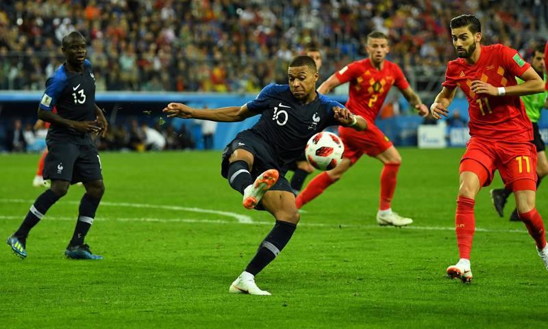 Soccer Football - World Cup - Semi Final - France v Belgium - Saint Petersburg Stadium, Saint Petersburg, Russia - July 10, 2018  France's Kylian Mbappe in action                                     REUTERS/Dylan Martinez