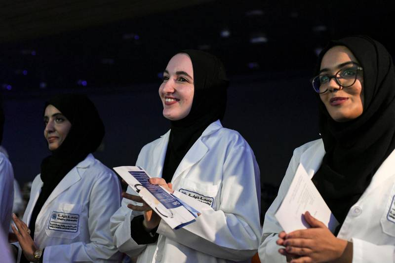 Abu Dhabi, United Arab Emirates - Graduating students during the oath taking of the ÔWhite CoatÕ ceremony in the College of Medicine and Health Sciences, at Khalifa University Campus in Abu Dhabi. Khushnum Bhandari for The National