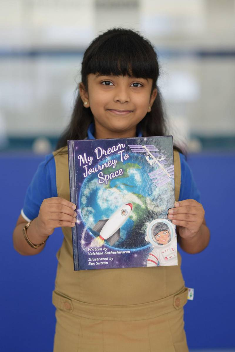 Vaishika Satheshwaran, a six-year-old pupil at The Pearl Academy in Abu Dhabi, who has had her first-ever book published. Courtesy: The Pearl Academy