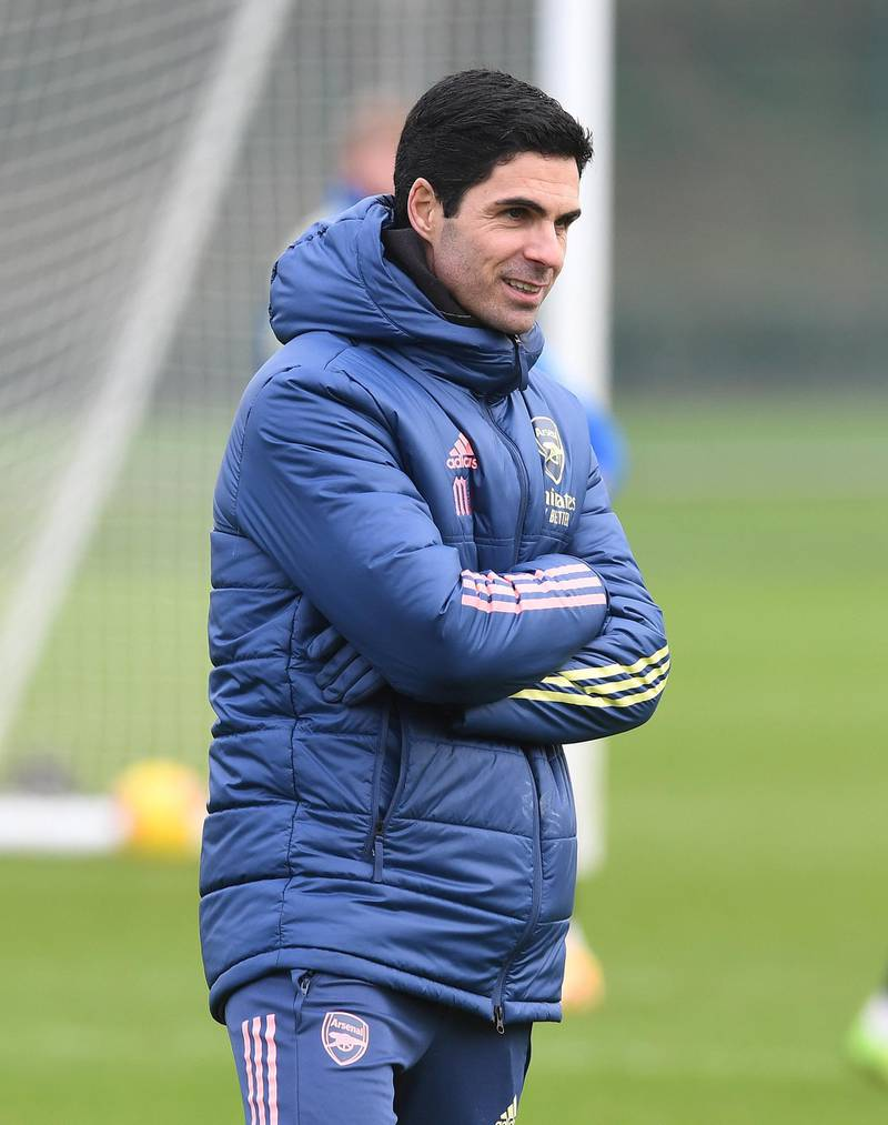 ST ALBANS, ENGLAND - DECEMBER 28: Arsenal manager Mikel Arteta during the Premier League match between Brighton & Hove Albion and Arsenal at London Colney on December 28, 2020 in St Albans, England. (Photo by Stuart MacFarlane/Arsenal FC via Getty Images)