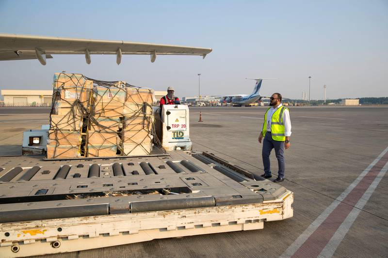 Sharjah, United Arab Emirates - September 16th, 2017: Mohammad Khafagy Al Najeh CEO and president of Al Najeh Honey Sales as 60 million bees arrive in the UAE by plane. Saturday, September 16th, 2017, Sharjah Airport, Sharjah. Chris Whiteoak / The National