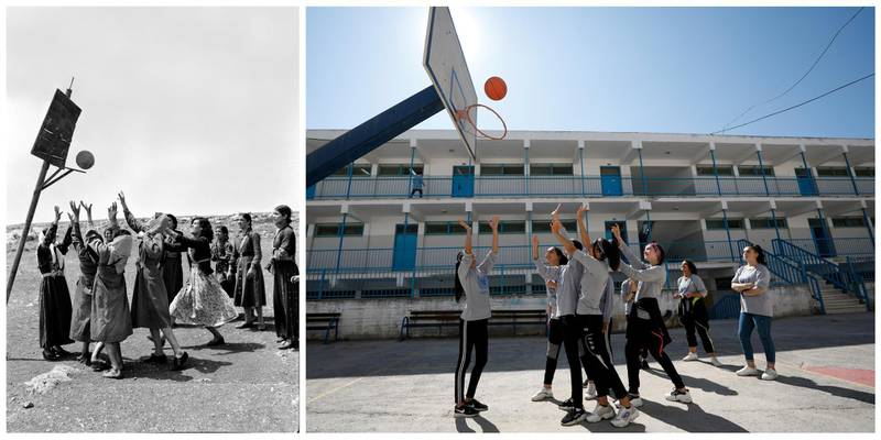 """A combination picture shows young women playing basketball at the Women's Activity Centre in Qalandia in the Israeli-occupied West Bank, in this undated handout photo. UNRWA/Handout via REUTERS (L) and Palestinian school girls playing basketball at UNRWA's Qalandia school in the Israeli-occupied West Bank, September 17, 2019. REUTERS/Mohamad Torokman ATTENTION EDITORS - THIS IMAGE WAS PROVIDED BY A THIRD PARTY. NO RESALES. NO ARCHIVES SEARCH """"UNRWA COMBOS"""" FOR THIS STORY. SEARCH """"WIDER IMAGE"""" FOR ALL STORIES."""