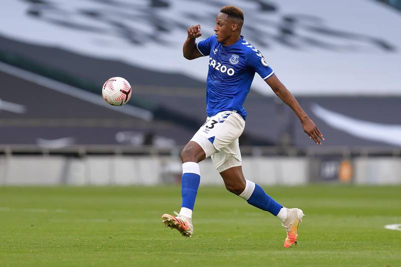 LONDON, ENGLAND - SEPTEMBER 13: Yerry Mina of Everton during the Premier League match between Tottenham Hotspur and Everton at the Tottenham Hotspur Stadium White Hart Lane on September 13, 2020 in London, England. (Photo by Tony McArdle/Everton FC via Getty Images)