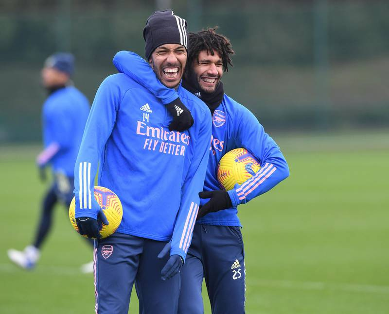 ST ALBANS, ENGLAND - DECEMBER 28: (L-R) Pierre-Emerick Aubameyang and Mo Elneny of Arsenal during the Premier League match between Brighton & Hove Albion and Arsenal at London Colney on December 28, 2020 in St Albans, England. (Photo by Stuart MacFarlane/Arsenal FC via Getty Images)
