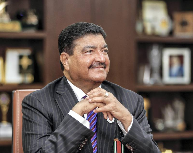 Abu Dhabi, U.A.E., June 20, 2018.  Interview with Dr B R Shetty, founder of BRS Ventures, including NMC Health and UAE Exchange together with Promoth Manghat, Executive Director, Finablr. -- image-- Dr. B.R. ShettySECTION:  BusinessReporter:Sarah Townsend