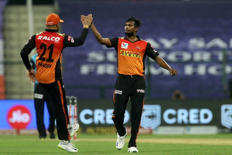 T Natarajan of Sunrisers Hyderabad  celebrates the wicket of Nitish Rana of Kolkata Knight Riders during match 8 of season 13 of the Dream 11 Indian Premier League (IPL) between the Kolkata Knight Riders and the Sunrisers Hyderabad held at the Sheikh Zayed Stadium, Abu Dhabi in the United Arab Emirates on the 26th September 2020.  Photo by: Vipin Pawar  / Sportzpics for BCCI