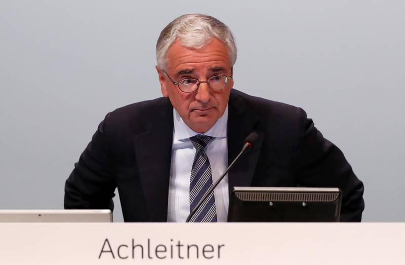 FILE PHOTO: Chairman of the board Paul Achleitner attends the annual shareholder meeting of Germany's largest business bank, Deutsche Bank, in Frankfurt, Germany, May 23, 2019. REUTERS/Kai Pfaffenbach/File Photo