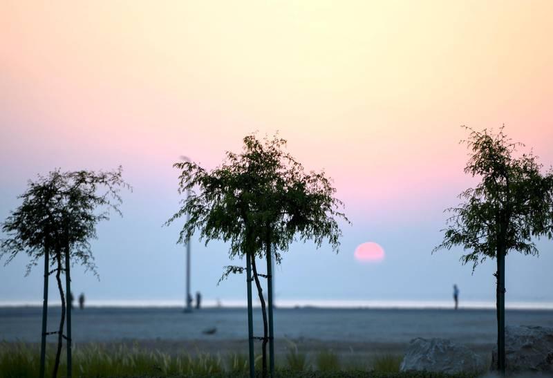 Evening-AD Sunset view on Hudayriat Island, in Abu Dhabi on June 4, 2021. Khushnum Bhandari / The National  Reporter: N/A News