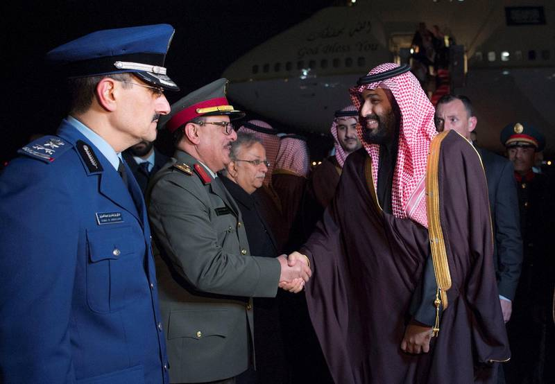 Saudi Arabia's Crown Prince Mohammed bin Salman is welcomed upon his arrival in Washington, U.S., March 19, 2018. Picture taken March 19, 2018. Bandar Algaloud/Courtesy of Saudi Royal Court/Handout via REUTERS ATTENTION EDITORS - THIS PICTURE WAS PROVIDED BY A THIRD PARTY.