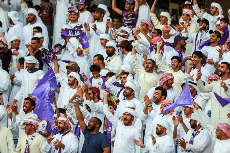 Abu Dhabi, UAE.  May 3, 2018.   President's Cup Final, Al Ain FC VS. Al Wasl.  Al Ain FC fans celebrate after the first goal in the first few minutes of the match.Victor Besa / The NationalSportsReporter: John McAuley