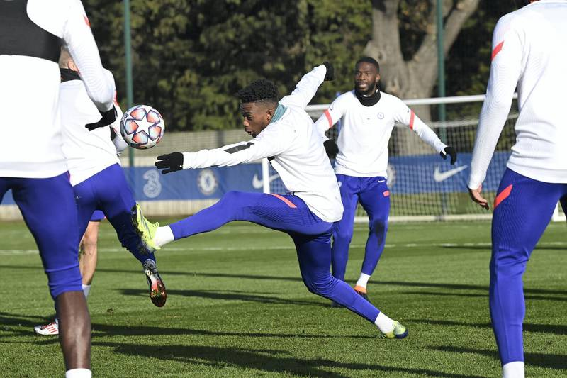 COBHAM, ENGLAND - DECEMBER 01:  Callum Hudson-Odoi of Chelsea during a training session at Chelsea Training Ground on December 1, 2020 in Cobham, United Kingdom. (Photo by Darren Walsh/Chelsea FC via Getty Images)