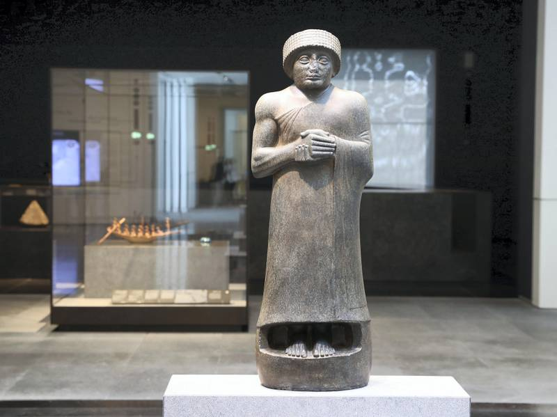 Abu Dhabi, United Arab Emirates - November 6th, 2017: Piece: Gudea, Prince of Lagash at the Louvre. Louvre Media Day. Monday, November 6th, 2017 at Louvre, Abu Dhabi. Chris Whiteoak / The National
