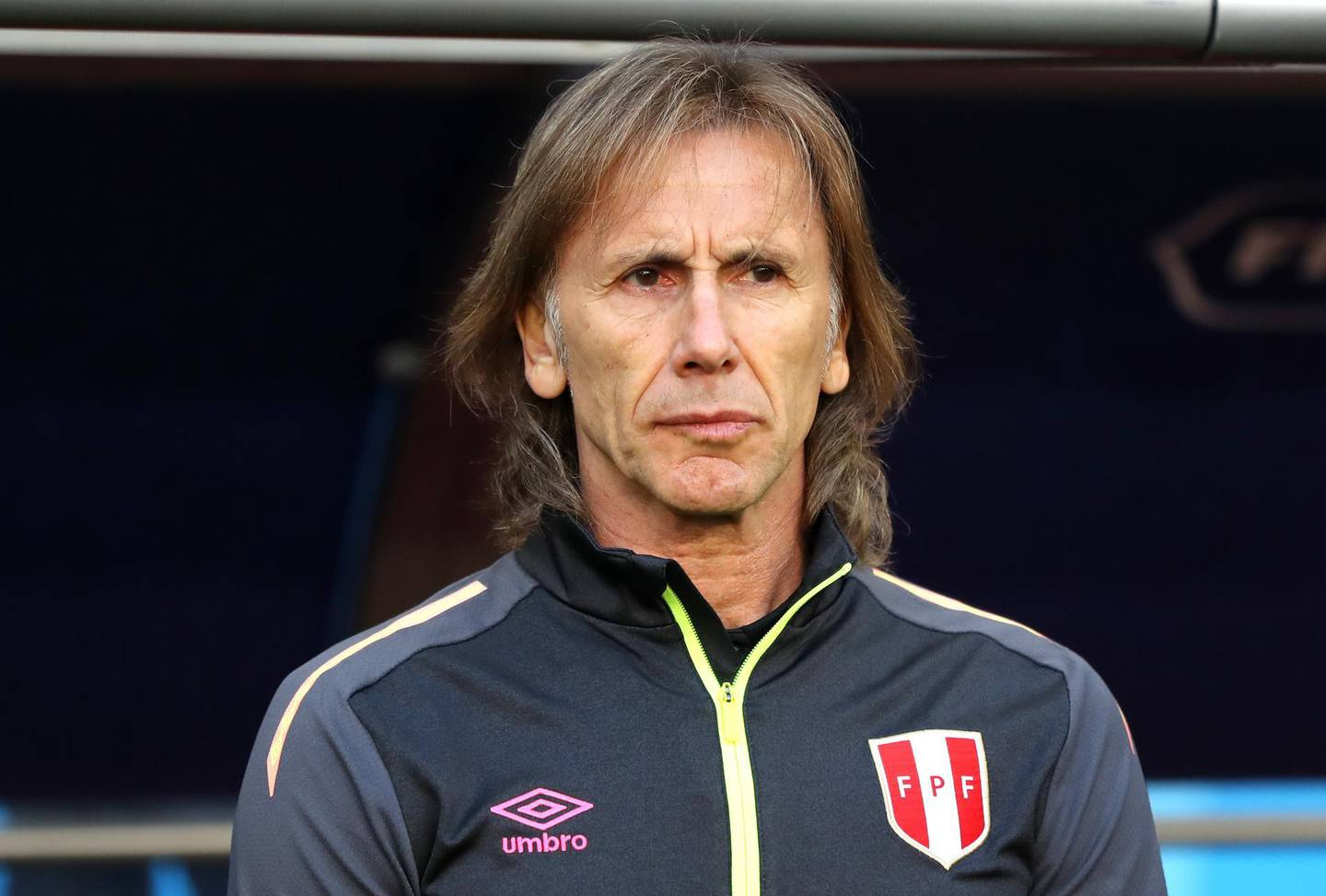SARANSK, RUSSIA - JUNE 16:  Ricardo Gareca, Head coach of Peru looks on prior to the 2018 FIFA World Cup Russia group C match between Peru and Denmark at Mordovia Arena on June 16, 2018 in Saransk, Russia.  (Photo by Elsa/Getty Images)