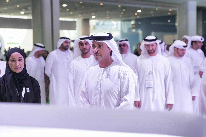 ABU DHABI, UNITED ARAB EMIRATES - April 16 2019.Sheikh Hazza bin Zayed Al Nahyan is the United Arab Emirates Head of State for National Security Advisor, at Abu Dhabi's Department of Urban Planning and Municipalities booth at Cityscape Abu Dhabi 2019.(Photo by Reem Mohammed/The National)Reporter: Nada El SawySection: BZ