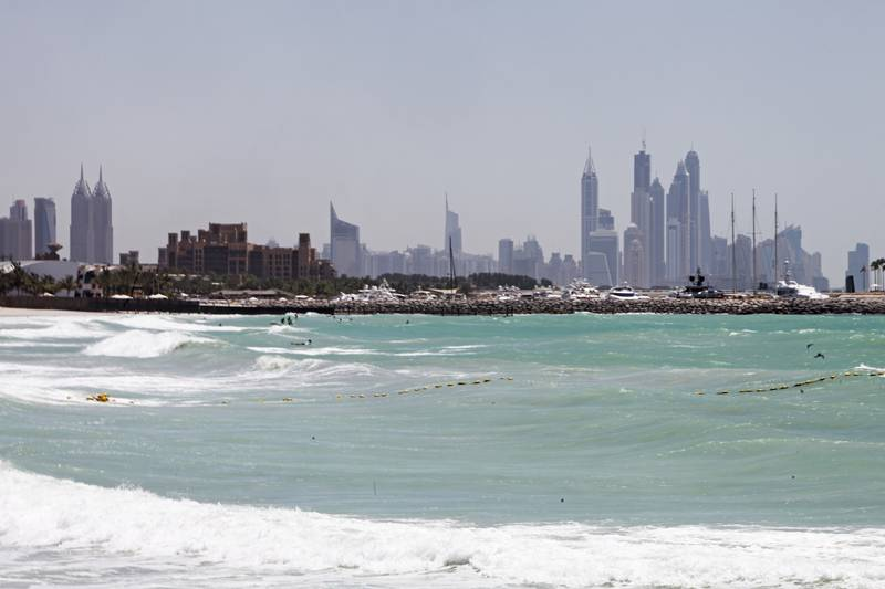 May 18, 2013, Dubai, UAE:  Despite warnings of heavy winds it was rather calm outside in Dubai today.   Seen here is the Umm Suqeim beach, which is well known for attracting kite surfers.   Lee Hoagland/The National