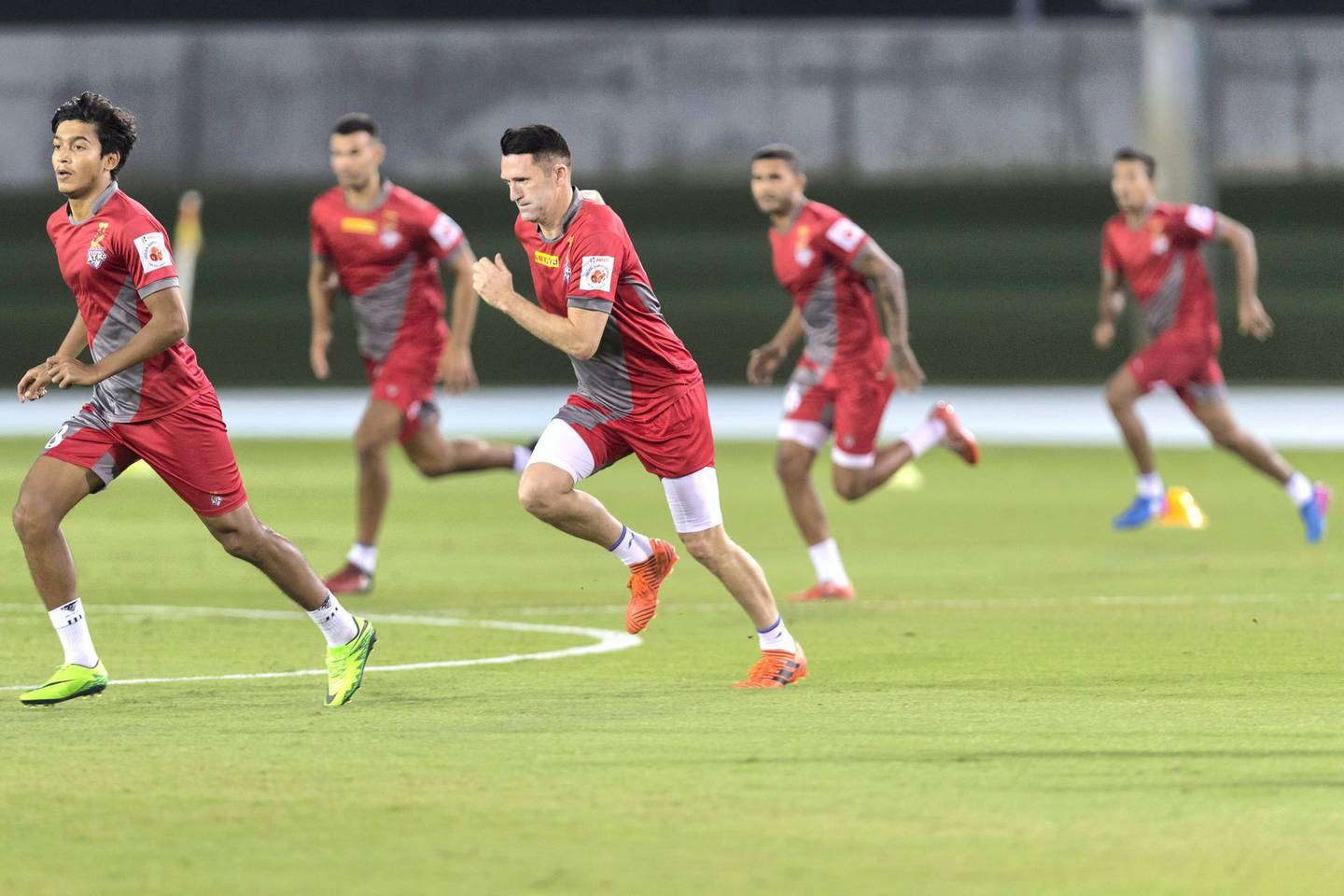 Dubai, United Arab Emirates, November 2, 2017:     Robbie Keane takes trains with fellow members of the Indian football club ATK during a training session at the Nad Al Sheba Sports Complex in the Nad Al Sheba area of Dubai on November 2, 2017. Christopher Pike / The NationalReporter: Paul RadleySection: Sport