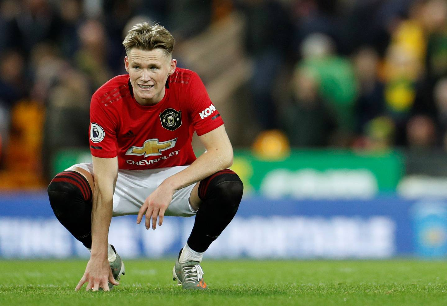 """Soccer Football - Premier League - Norwich City v Manchester United - Carrow Road, Norwich, Britain - October 27, 2019  Manchester United's Scott McTominay at the end of the match     Action Images via Reuters/John Sibley  EDITORIAL USE ONLY. No use with unauthorized audio, video, data, fixture lists, club/league logos or """"live"""" services. Online in-match use limited to 75 images, no video emulation. No use in betting, games or single club/league/player publications.  Please contact your account representative for further details."""