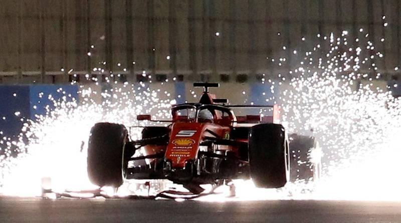 Formula One F1 - Bahrain Grand Prix - Bahrain International Circuit, Sakhir, Bahrain - March 31, 2019  Ferrari's Sebastian Vettel with a damaged car during the race  REUTERS/Thaier Al-Sudani     TPX IMAGES OF THE DAY