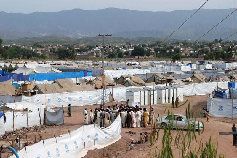 PABI: NOWSHERA, PAKISTAN: 25-April-2009.A view of the tented village of Jellozai camp for Internally Displaced People (IDP) under Islamic Relief at Pabi on April 25, 2009. Photo by Muzammil Pasha for The National